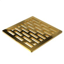 """Polished Gold - PVD 4"""" Square Shower Drain"""