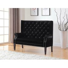 Transitional Black and Rhinestone Settee