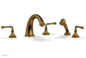 COINED Deck Tub Set with Hand Shower - Lever Handles 208-48 - French Brass Product Image
