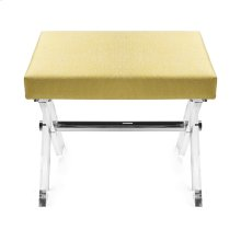 Lucite X Base Stool With Nickel Stretcher & P07/citron Upholstered Cushion