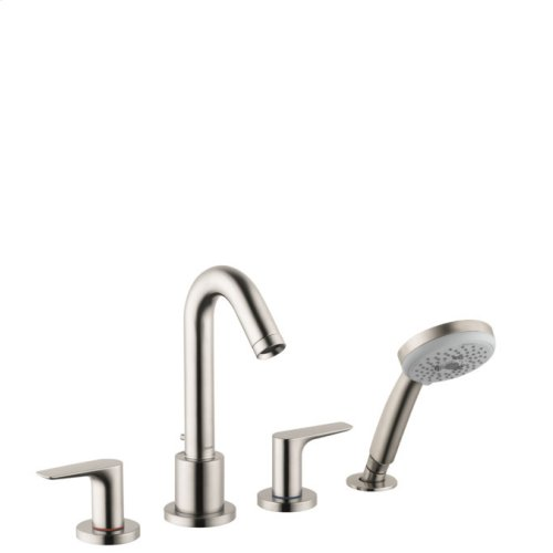 Brushed Nickel 4-Hole Roman Tub Set Trim with 1.8 GPM Handshower