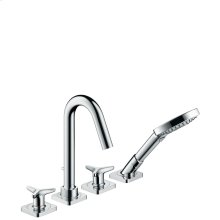 Chrome 4-hole rim mounted bath mixer with star handles and escutcheons