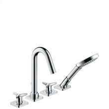 Chrome 4-hole rim mounted bath mixer with star handles and escutcheons