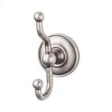 Edwardian Bath Double Hook Plain Backplate - Antique Pewter