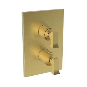 """Satin Bronze - PVD 1/2"""" Square Thermostatic Trim Plate with Handle"""
