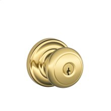 Andover Knob with Andover trim Keyed Entry Lock - Bright Brass