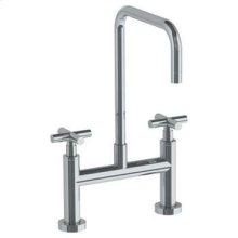 Deck Mounted Bridge Square Top Kitchen Faucet