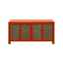 Four Door Cane Cabinet With Brass Hardware In Matte Orange Lacquer Finish