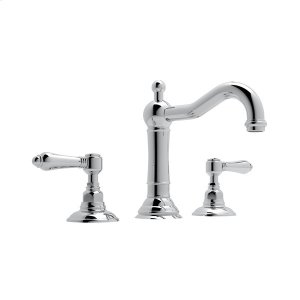 Polished Chrome Acqui Column Spout Widespread Lavatory Faucet with Metal Lever Product Image