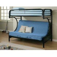 Contemporary Glossy Black Futon Bunk Bed