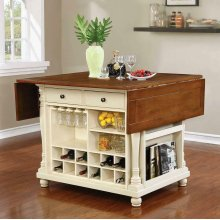 Slater Country Cherry and White Kitchen Island