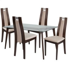 5 Piece Espresso Wood Dining Table Set with Glass Top and Curved Slat Wood Dining Chairs - Padded Seats