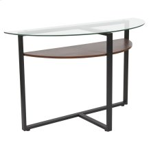 Glass Console Table with Rustic Oak Wood Finish and Black Metal Legs