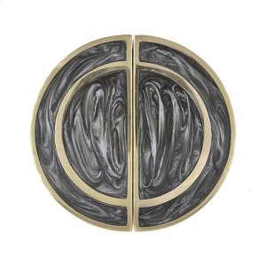 Half Round Brass Knob Pair With Inset Resin In Charcoal Product Image