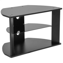 Black Finish TV Stand with Glass Shelves