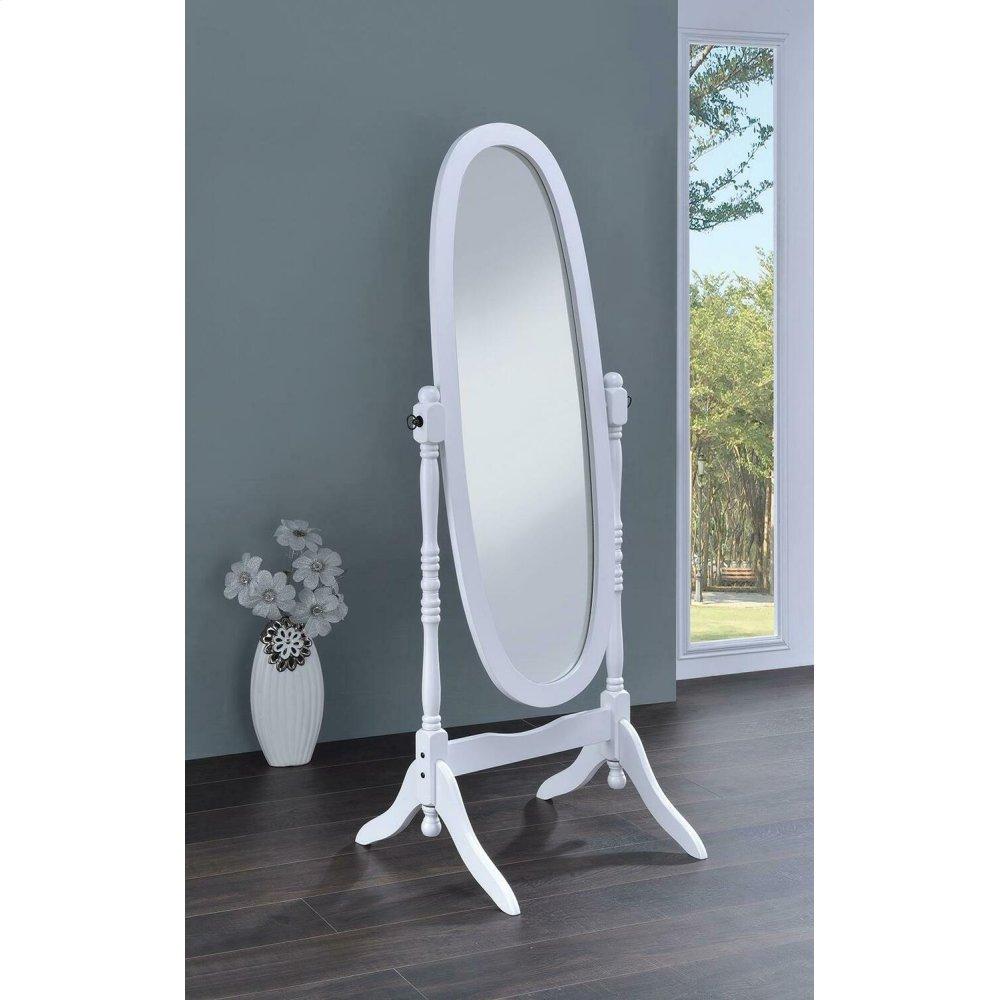Transitional White Cheval Mirror