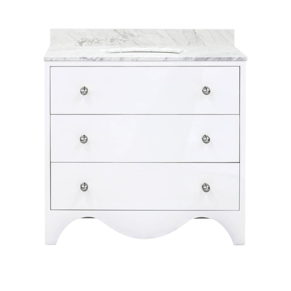 "Bath Vanity With White Marble Top In White Lacquer With Nickelhardware Features: - White Porcelain Sink Included - Optional White Carrara Marble Backsplash Included - for Use With 8"" Widespread Faucet (not Included) - Two Working Drawers"