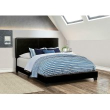 Dorian Black Faux Leather Upholstered King Bed