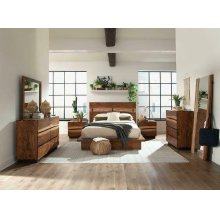 Rustic Smoky Walnut Queen Bed