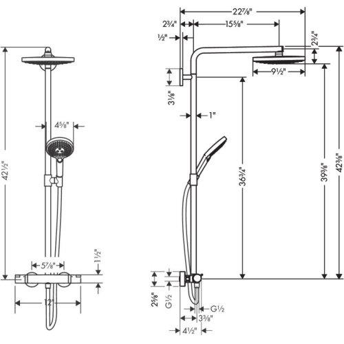 Brushed Nickel Showerpipe 240 2-Jet, 2.5 GPM