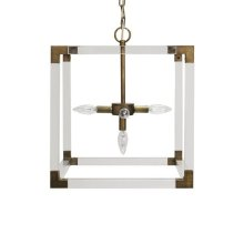 Square Acrylic Pendant With Painted Bronze Hardware Ul Approved for Five 40 Watt Candelabra Bulbs