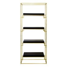 Gold Leaf Etagere With Black Lacquer Shelves