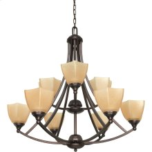 """9-Light 32"""" Copper Bronze Chandelier with Champagne Washed Linen Glass"""