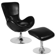 Black Leather Side Reception Chair with Ottoman