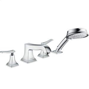 Chrome 4-Hole Roman Tub Set Trim with Lever Handles and 1.8 GPM Handshower Product Image