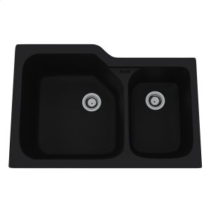 Matte Black Allia Fireclay 2 Bowl Undermount Kitchen Sink Product Image