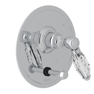 Polished Chrome Italian Bath Pressure Balance Trim With Diverter with Crystal Lever Product Image
