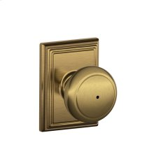 Andover Knob with Addison trim Bed & Bath Lock - Antique Brass