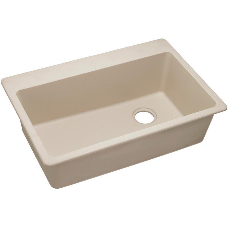 """Elkay Quartz Classic 33"""" x 22"""" x 9-1/2"""", Single Bowl Drop-in Sink, Putty"""