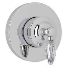 Polished Chrome Italian Bath 4-Port, 3-Way Diverter Trim with Crystal Lever