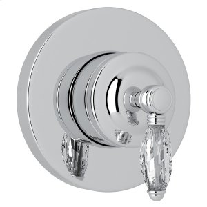 Polished Chrome Italian Bath 4-Port, 3-Way Diverter Trim with Crystal Lever Product Image