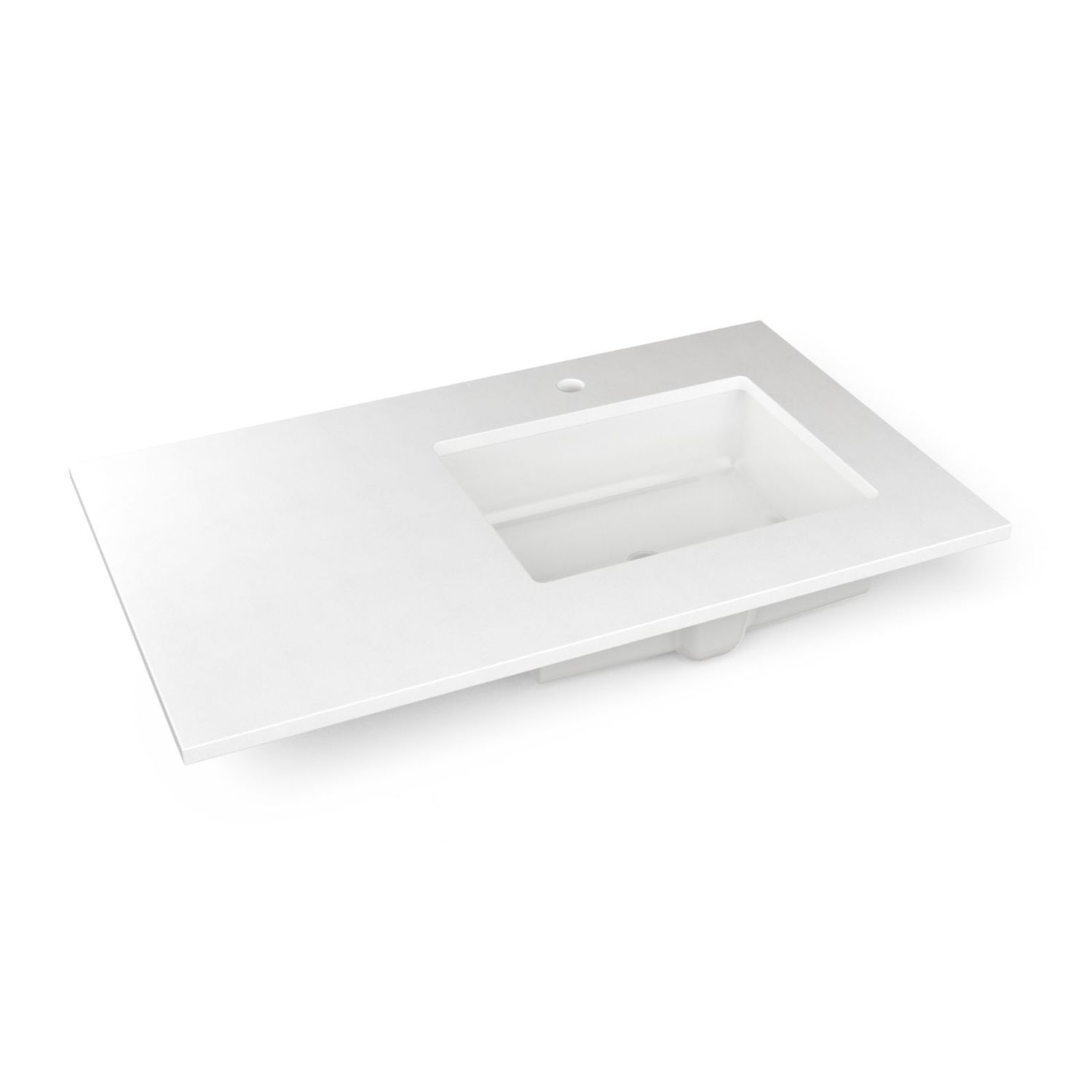 """Engineered Stone 37"""" X 22"""" X 3/4"""" Quartz Vanity Top In Quartz White With Right Offset Undercounter Sink and Single Hole Faucet Drillings"""