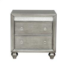 Silver Luxe Mirror Trim 2 Drawer Nightstand