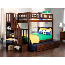 Woodland Staircase Bunk Bed Twin over Twin with Raised Panel Trundle Bed in Walnut
