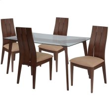5 Piece Walnut Wood Dining Table Set with Glass Top and Wide Slat Back Wood Dining Chairs - Padded Seats