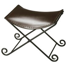 """This sleek seat redefines """"stool """" for discerning consumers intent on having not only beautiful for intriguing home environments. Crafted from iron and leather, the puppy tail feet of the base add fanciful flourish on the floor. The seat securely hooks"""