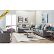 2019-02 Loveseat in Surge Smoke, C/P in Soma Turquoise and Harbow Island Turquoise