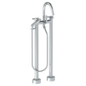 Floor Standing Gooseneck Bath Set With Slim Hand Shower Product Image