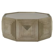 Mosaic Round Cocktail Table in Warm Graphite Leaf (373)