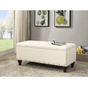 CREAM PU BENCH W/STORAGE Product Image