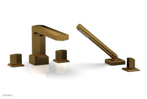 DIAMA Deck Tub Set with Hand Shower - Blade Handles 184-48 - French Brass Product Image