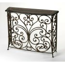 A naturally beautiful way to inject an organic element into your space.This attractive console table is bound to fit in anywhere in your home. It features the lustrous depth and beauty of black and gold stone and the classic effect of forged iron design. Product Image