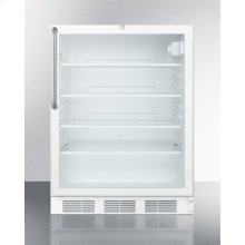ADA Compliant, Commercially Listed Freestanding Glass Door All-refrigerator With White Cabinet, Lock, and Towel Bar Handle
