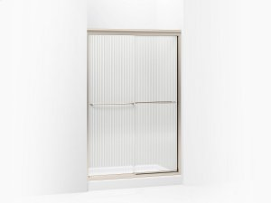 """Falling Lines Glass With Anodized Brushed Bronze Frame Sliding Shower Door, 70-5/16"""" H X 44-5/8 - 47-5/8"""" W, With 1/4"""" Thick Falling Lines Glass Product Image"""