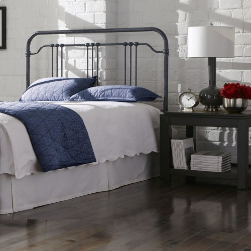 Wellesly Metal Headboard Panel with Straight Spindles and Intricately Designed Casters, Marbled Navy Finish, Full