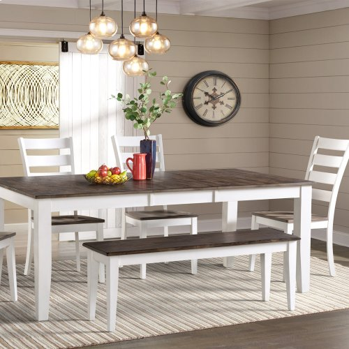 Kona Dining Bench  Gray and White